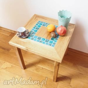 dębowy stolik kawowy, stół, stolik, ceramika stoły dom, świąteczne prezenty