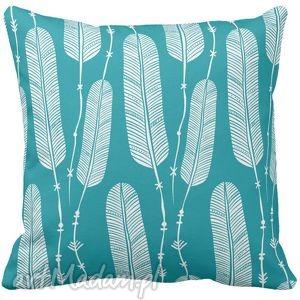 poduszka dekoracyjna niebieska boho pióra 6534, boho, poduszki dom