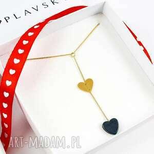 poplavsky naszyjnik heart serce srebro 925 pozłacane, naszyjnik, serce, hematyt