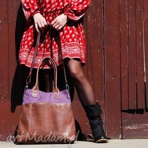 fiella - duża torba zgaszony fiolet, shopper, wygodna, duża, elegancka, miejska
