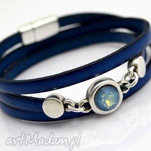 bransoletki bransoletka skórzana magnetoos triple cristal blue, bransoletka, skóra