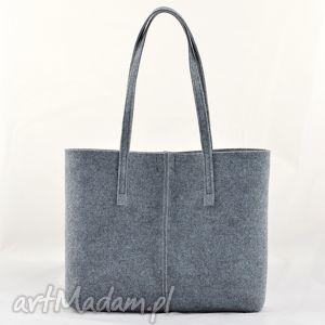 na zakupy torebka szara z filcu, minimalistyczna ze szwem - koszyczek, filc, filcowa