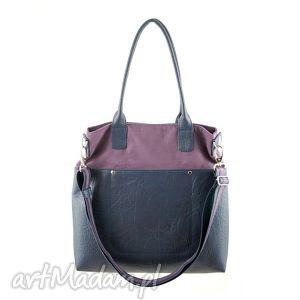 na ramię fiella - duża torba śliwka i granat, shopper, modna, prezent, trendy