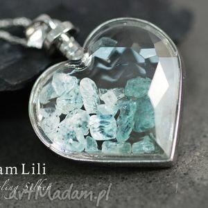 925 srebrny naszyjnik aquamarine - aquamarine, kamienie, medalion, niebieski, srebro