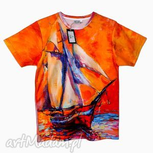 artystyczny t-shirt - malowany statek jakość premium , modny, fajny, wakacyjny
