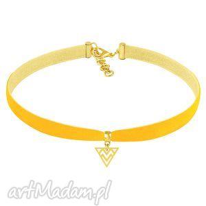 choker - primrose yellow velvet, aksamit, trójkąt, naszyjniki