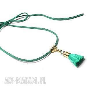 choker - emerald chwost naszyjnik, choker, chwost, boho, wiązany, swarovski