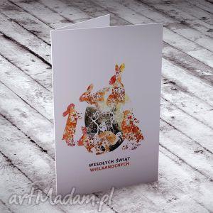 WIELKANOCNA KARTECZKA Z ZAJĄCZKAMI, wielkanoc, kartki, okolicznościowe, życzenia