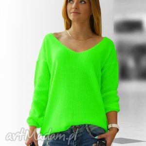 bluzki sweterek w serek neonowe kolory, swetry, neonowe, fuksja, serek, wiosenna