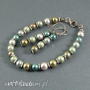 pod choinkę prezent, komplet perłowy b436, kolczyki, bransoletka, komplet, perełki