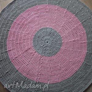 okrągły dywan szaro-różowy 120 cm, dywan, bawełniany, sznurek, szary, różowy