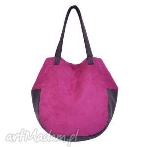 24-0012 różowa torebka damska worek torba na studia swallow, duże, modne, torebki