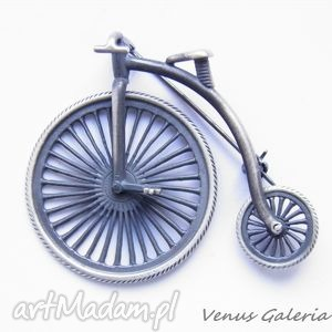broszka srebrna - bicykl - rower - biżuteria, srebro, broszki