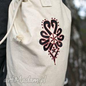 plecak,worek bawełniany, haft parzenica, plecak, worek, torba, torebki