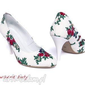 swarne buty szpilki ślubne z tybytu, ślubne, ludowe, tybyt, góralskie, folk, design
