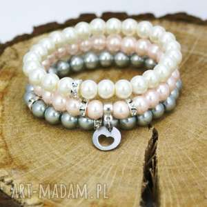 komplet bransoletek perełki, bransoletki, komplet, zawieszki, szklane, perły