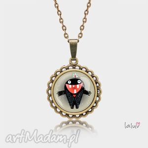 laluv medalion okrągły mały monster of love, serce, miłość, zęby, potworek, grafika