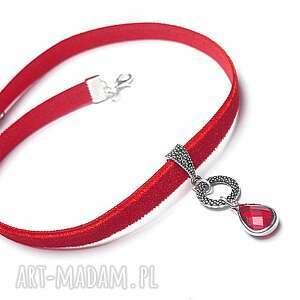 handmade naszyjniki choker - red
