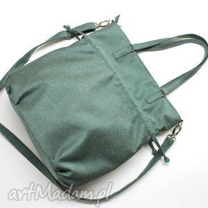 na ramię shopper bag sack - tkanina zielona, elegancka, nowoczesna, handmade, prezent
