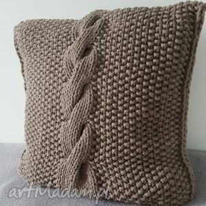 poduszka ze sznurka bawełnianego warkocz handmade wyjątkowa beż , poduszka