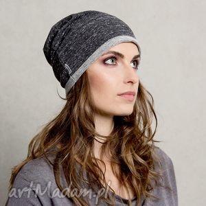 dzianinowa dresowa czapka gray anthracite, czapka, dresowa, szara, czarna czapki
