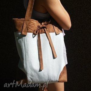 na ramię modnatorba z kokardką beż-brąz , torba, ramię, ekotorba, tkanina