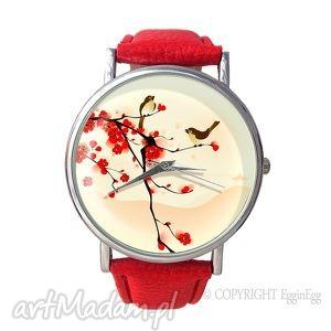 Prezent Orientalne ptaszki - Skórzany zegarek z dużą tarczką, zegarek, skórzany