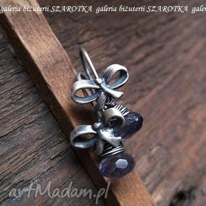 kolczyki prezentowe romantyczne z iolitu i srebra, iolit, srebro, oksydowane