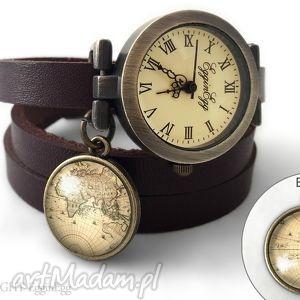 Zegarek z dwustronną zawieszką - Mapa Świata 0196SWDB, zegarek, zawieszka, dwustronna