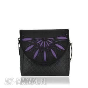 torebka puro 806 violet cutout, ażurowa, fioletowa, wymienne, klapki, pikowana