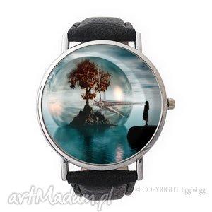 drzewo życia - skórzany zegarek z dużą tarczą - drzewo, życia