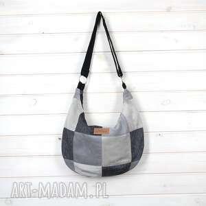 torebka szara na ramię listonoszka patchwork, listonoszka, prezent, pojemna
