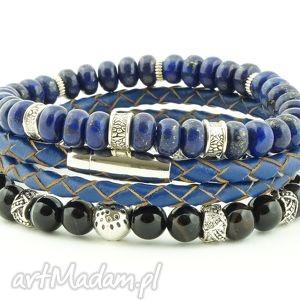 Lapis Lazuli, Agaty ra Męski Set, lapis, lazuli, agat, skóra, naturalna, set