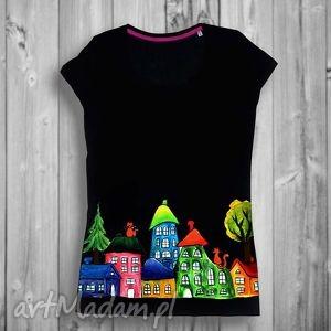 koszulki bluzka damska ręcznie malowana- śliczne kolorowe domki, koszulka, malowana