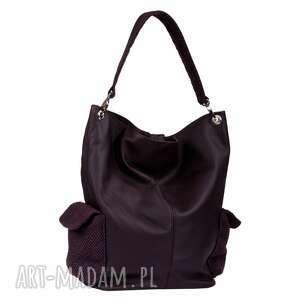 17-0010 fioletowa torba damska worek torebka na studia stork, makowe, modne