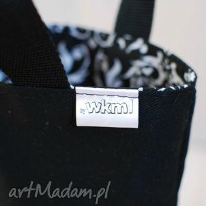 hand made do ręki lunchbag czarno-białe ornamenty
