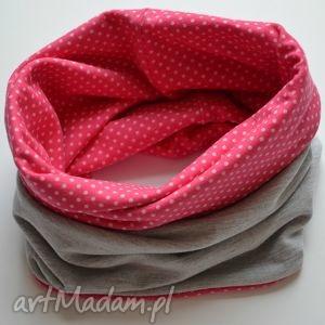 ubranka różowe groszki- komin indywidualne zamówienie, czapka, komin, oryginalny