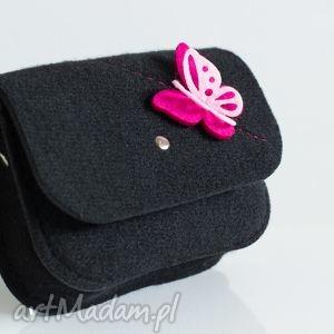 na ramię mała torebka z czarnego filcu dla małej damy, torebka, dziecko, motyl, modna
