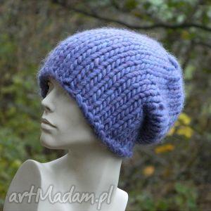 syberianka lilac 100 wool czapa, wool, ciepła, ścieg, grubaśna, handmade