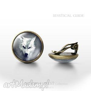 klipsy - biały wilk antyczny brąz, klipsy, klips, wilk, wilki, husky
