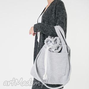 torba dzianinowa duża pojemna worek szara, duża, pojemna, dzianinowa, na ramię