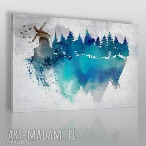 obraz na płótnie - wiatrak akwarela 120x80 cm 29101 , wiatrak, las