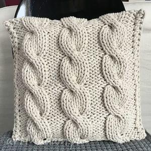 poduszki poduszka ze sznurka bawełnianego krem 40x40 cm, poduszka, poszewka, sznurek