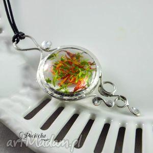 marchewka z groszkiem - wisior kwiatami i mchem, naszyjnik, wisior, kwiaty