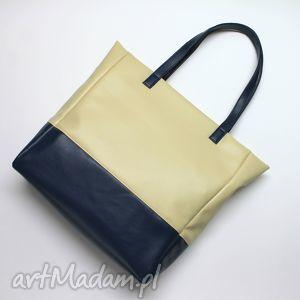 na ramię shopper bag - jasny beż i granat, elegancka, nowoczesna, handmade, prezent