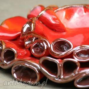 ceramika patery twist czerwono-złote, patera, patery, ceramiczne, szkliwione