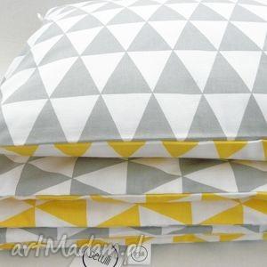 pościele 150 x 200 cm pościel scandi trójkąty żółto - szare, pościel, wzór