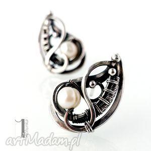 sorbus z perłą srebrne kolczyki, srebro, 925, wirewrapping, perła, prezent