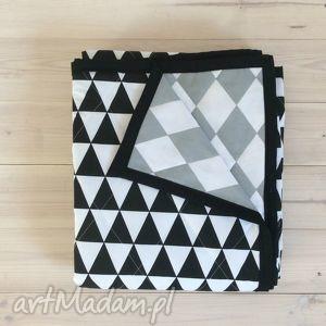 narzuta na łóżko szaro-czarno-biała 180x230cm, romby, trójkąty, narzuta, łóżko, szara
