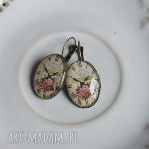 kolczyki owal vintage z grafikami stary zegar, kolczyki, klipsy